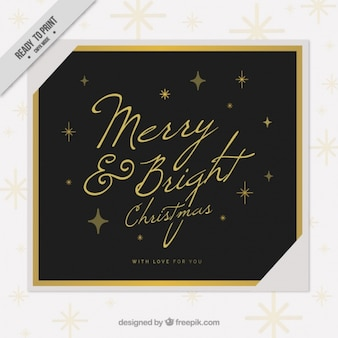 Golden christmas invitation in vintage style