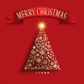 Golden christmas tree made of ornaments background