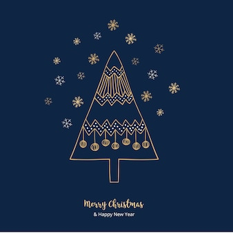 Golden chrsitmas greetings at blue background
