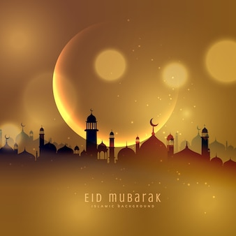 Golden city background of eid mubarak