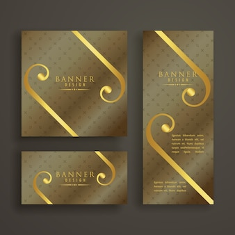 Golden collection of luxury banners in different shapes