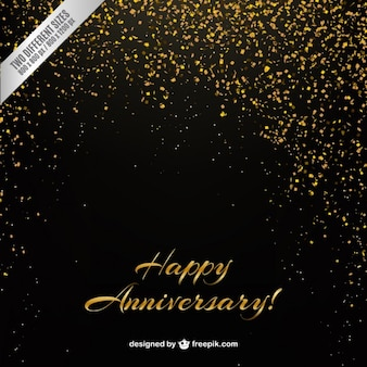 Golden confetti anniversary background