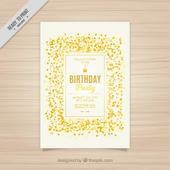Golden confetti birthday card