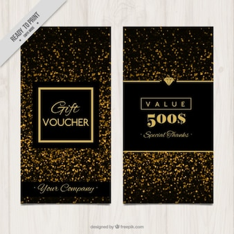 Golden confetti gift banners