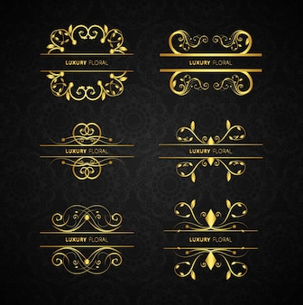 Golden decorative elements set