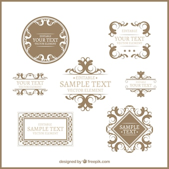 Golden decorative emblems pack