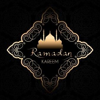 Golden decorative ramadan background