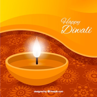 Golden diwali background with candle