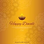 Golden diwali background with mandalas