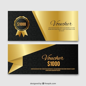 Golden elegant gift voucher set