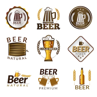 Golden emblems of fresh natural cold premium beer isolated vector illustration