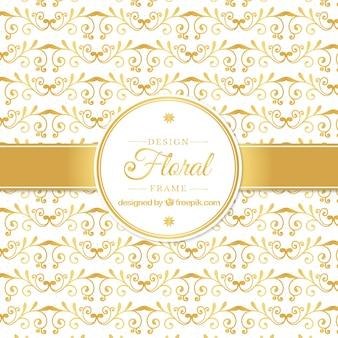 Golden floral design background