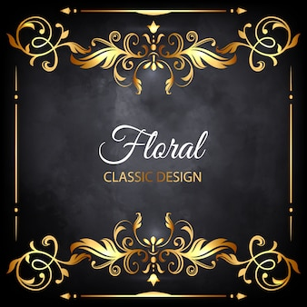 Golden floral luxury frame