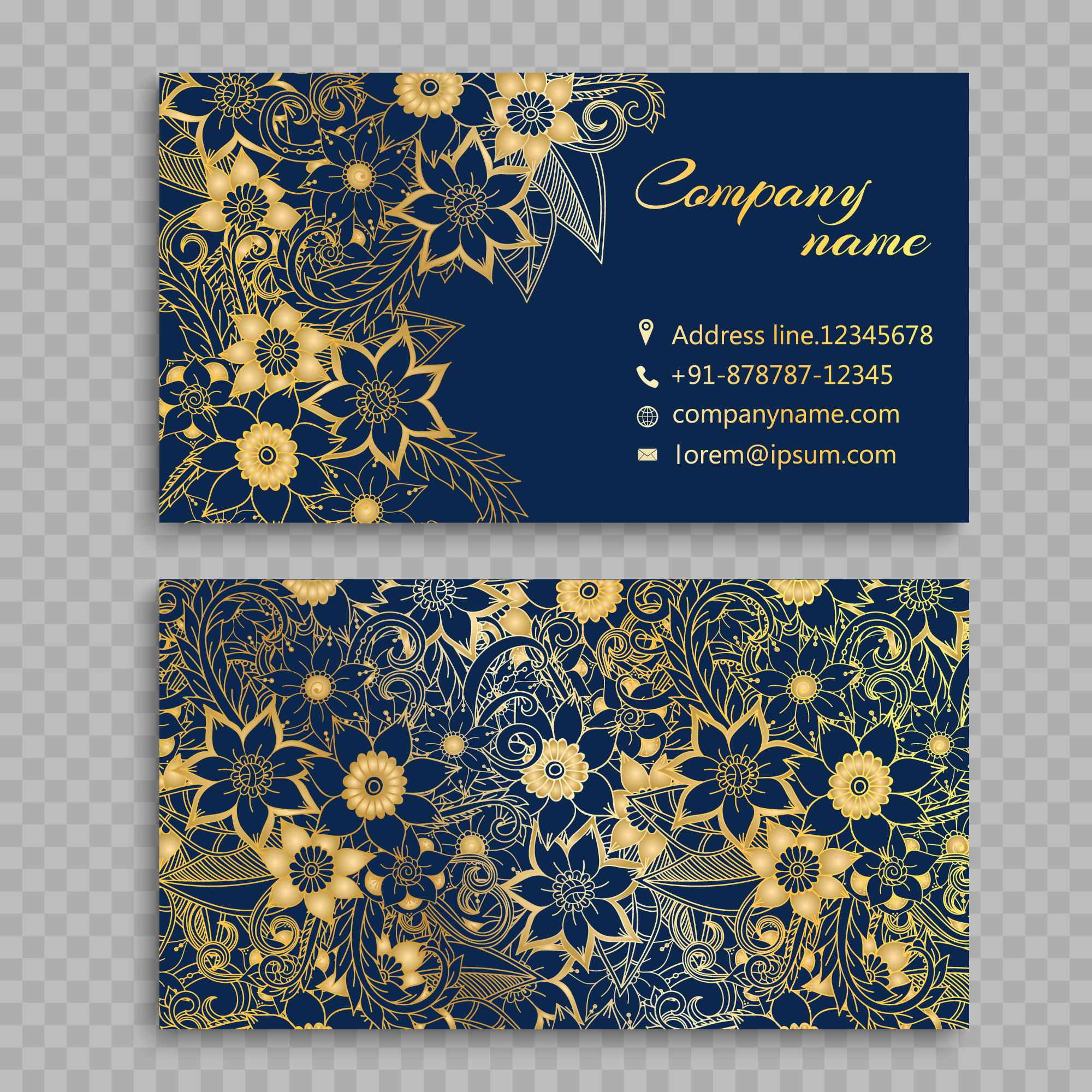 Golden flowers on blue background business card