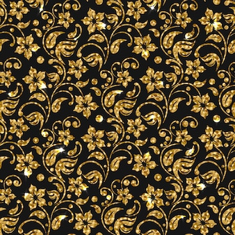Golden flowers pattern background