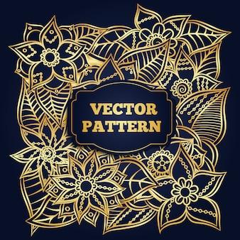 Golden flowers pattern background