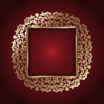 Golden frame on a red background