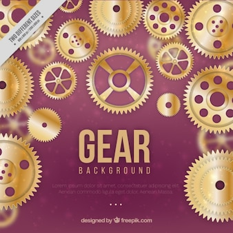 Golden gears with purple background
