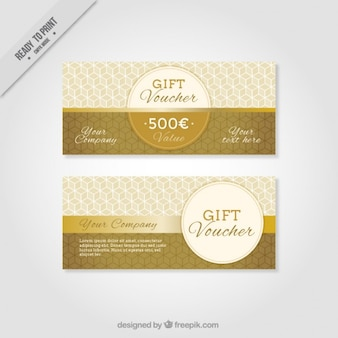 Golden geometric gift voucher set
