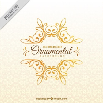 Golden hand drawn ornament background