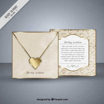 Golden heart birthday invitation