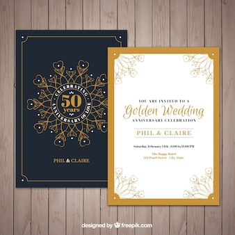 Golden jubilee invitation with ornaments