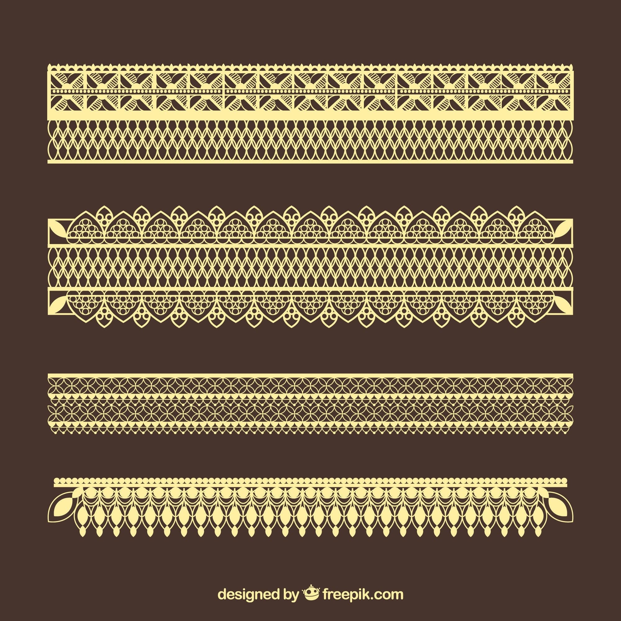Golden lace borders pack