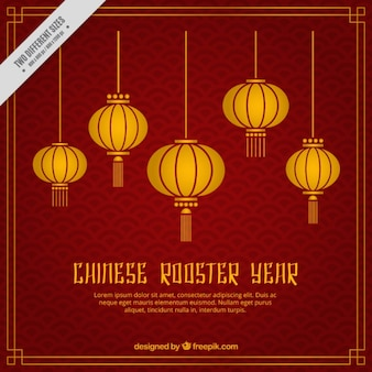 Golden lanterns background for chinese new year