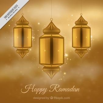 Golden lanterns ramadan background