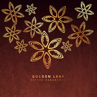 golden leaves design in rusty background