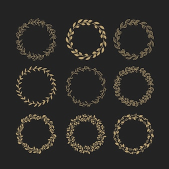 Golden leaves wreath collection