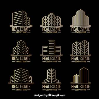 Golden linear real estate logos