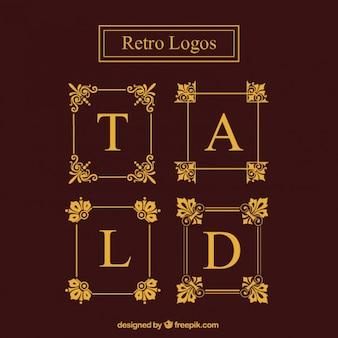 Golden logo frames set