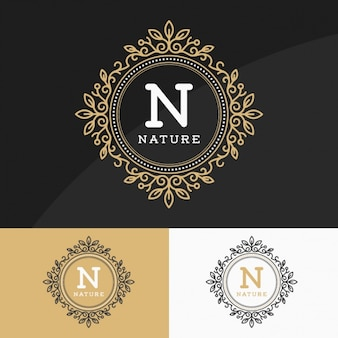 Golden logos set
