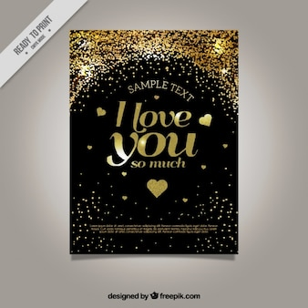 Golden love card with hearts and confetti
