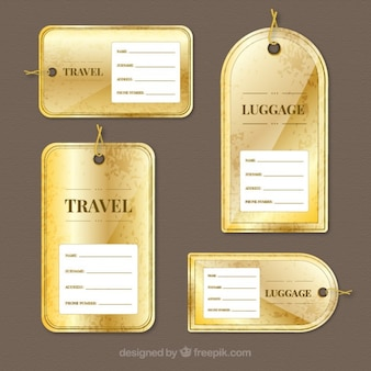 Golden luggage tags collection