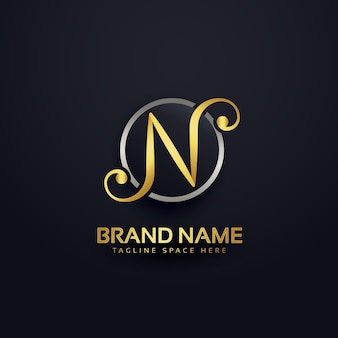 Golden luxury letter n logo design