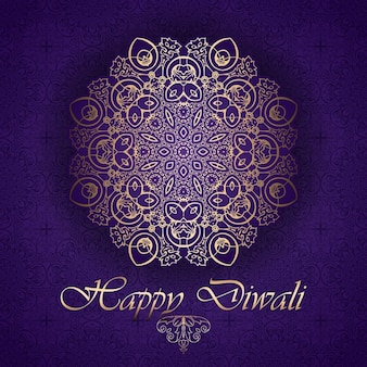 Golden mandala on a purple background for diwali