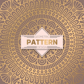 Golden mandala retro pattern