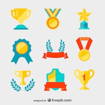 黄金のメダルとトロフィーベクトル