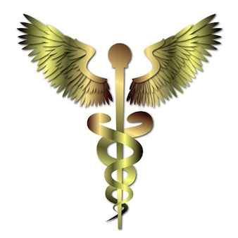 Golden metal medical caduceus sign