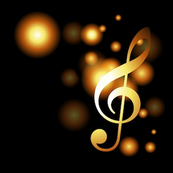 Golden music background with bokeh effect