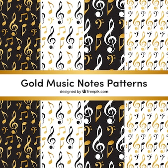 Golden music notes pattern background