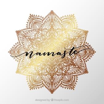 Golden namaste background