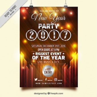 Golden new year 2017 poster