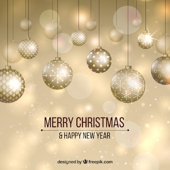 Golden new year background with elegant balls