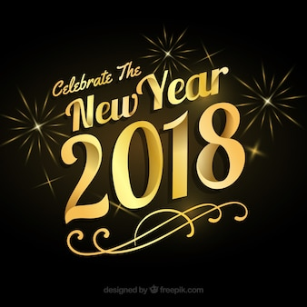 Golden new year background with retro style