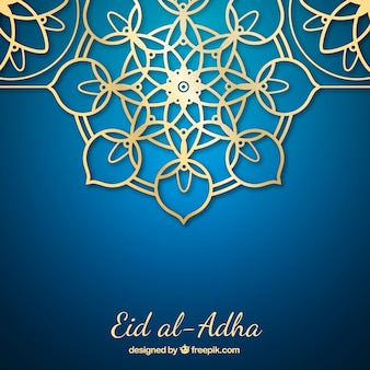 Golden ornamental background of eid al-adha