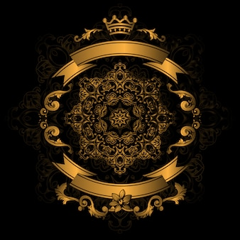 Golden ornamental design on black background