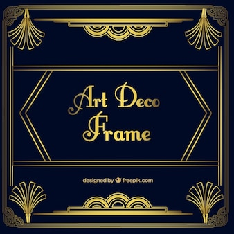 Golden ornamental frame in art deco style